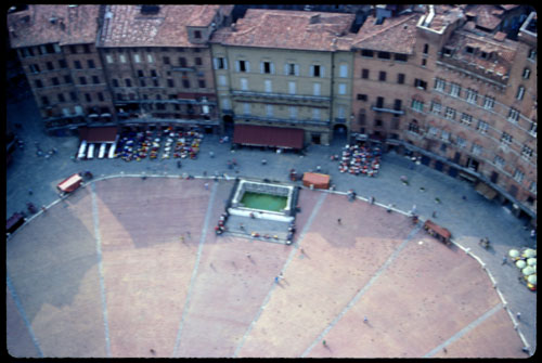 Sienna's Piazza Publico, from the City Hall tower. ©2004, James A. Clapp