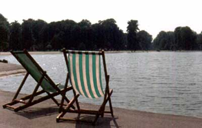 Even the chairs in London's main park seem to be a leisure. ©1979, James A. Clapp