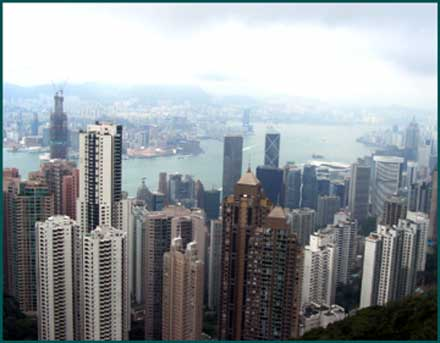 Hong Kong's skyscrapers are looked down upon by Victoria Peak. ©2000 UrbisMedia