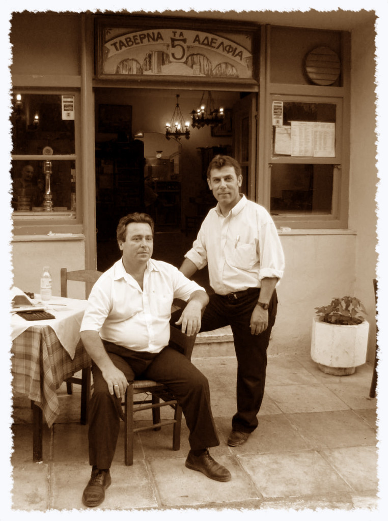 Two Adelphoi at the Taverna  ©2004, James A. Clapp