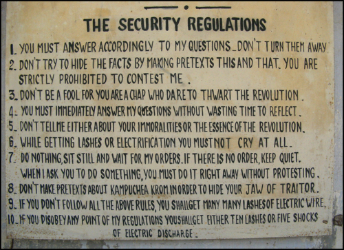 """Translation of """"regulations"""" at SR21 torture facility Phnom Penh, Cambodia Photograph by the author.   ©2001, UrbisMedia"""