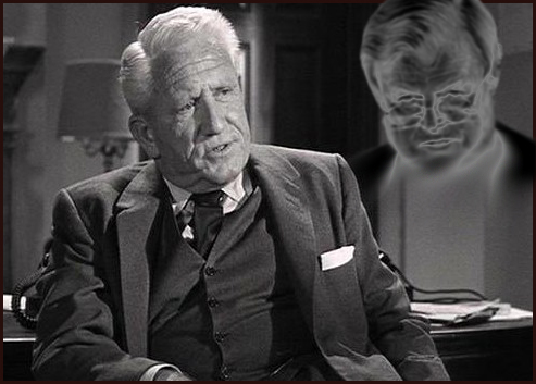 Mayor Skeffington's (Spencer Tracy) Last Hurrah ©Columbia Pictures. Graphic ghostly amendments by UrbisMedia., 2009